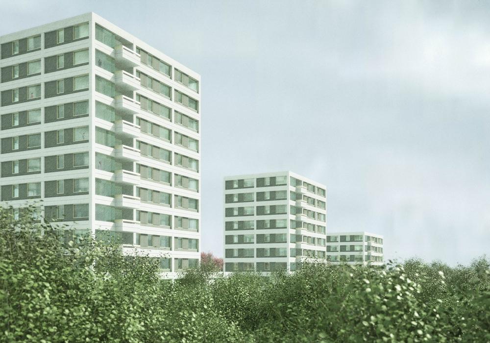Wohnen am Kurt-Schumacher-Ring, Die abgetreppten Hochpunkte zeichnen die Silhouette des Stufenhochhauses nach. Entwurf: Bayer & Strobel Architekten, Kaiserslautern