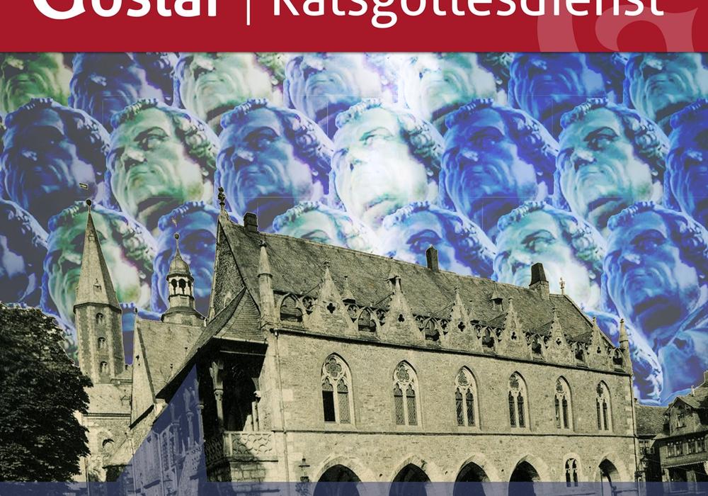Das Plakat, gestaltet von Ratsherrn Giovanni Graziano, spiegelt das Thema des Ratsgottesdienstes auch im Hintergrund wider: Reformation und Politik. Foto: Stadt Goslar/Giovanni Graziano