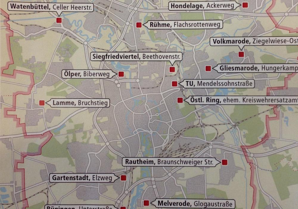 An diesen Orten sollen Unterkünfte entstehen. Foto: Stadt Braunschweig