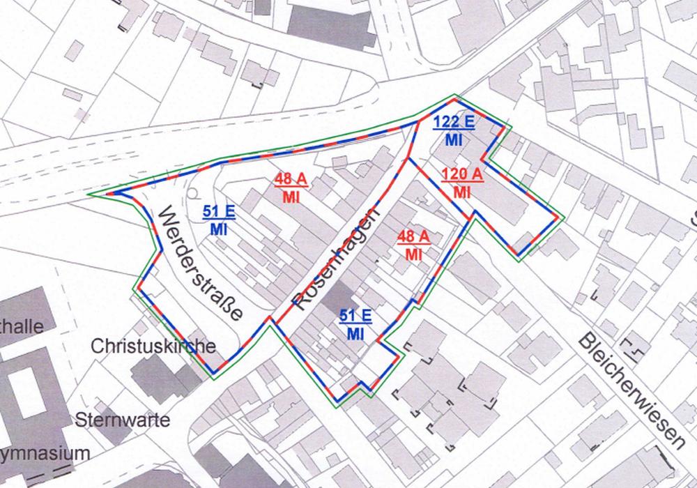 Die Karte zeigt die Erfassung des Straßenzuges Rosenhagen und die verschiedenen Bodenrichtwertzonen. Karte: Stadt Peine