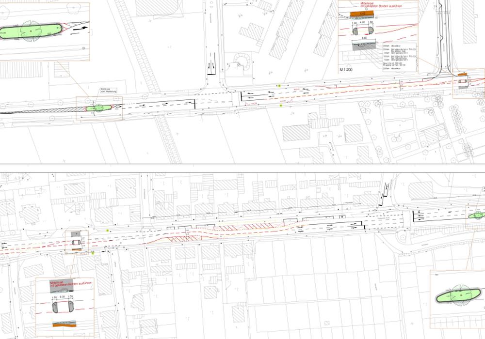 In Rüningen sollen nun Bäume in der Mitte der Thiedestraße gepflanzt werden. So möchte man verhindern, dass dort zu schnell gefahren wird. Foto/Planungsentwurf: Stadt Braunschweig