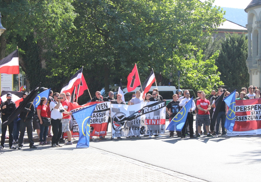 """80 Anhänger der Kleinpartei """"Die Rechte"""" versammelten sich im August 2015 in der Rosentorstraße, die Gegenvernanstaltung zählte 1.000 Teilnehmer. Foto: Anke Donner"""
