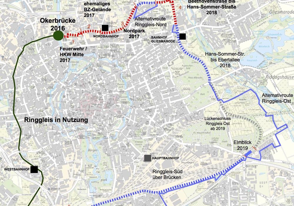 An fünf Punkten soll sich in den nächsten Jahren vieles tun. Die dunkelgrünen Linie markiert den aktuellen Stand, die roten Striche die neuen Planungen. Foto: Stadt Braunschweig