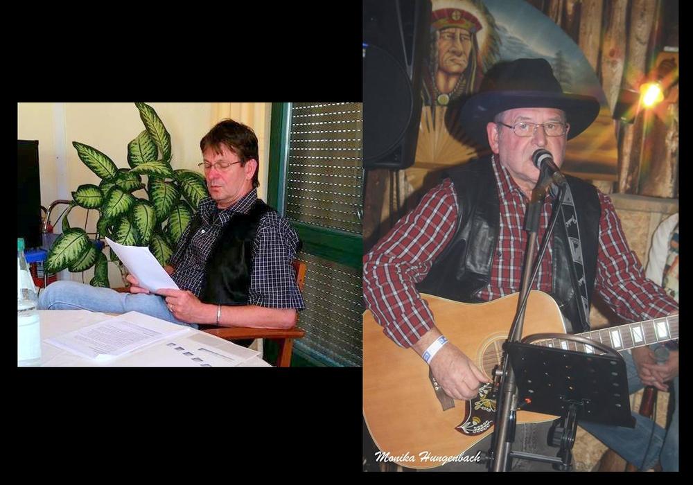 """M. N. Sameit und Günter """"Bronko"""" Scholz veranstalten gemeinsam einen lyrisch-musikalischen Abend am 30. Juli im Cafe Claire.  Foto: Privat (links) und Monika Hungebach (rechts)"""
