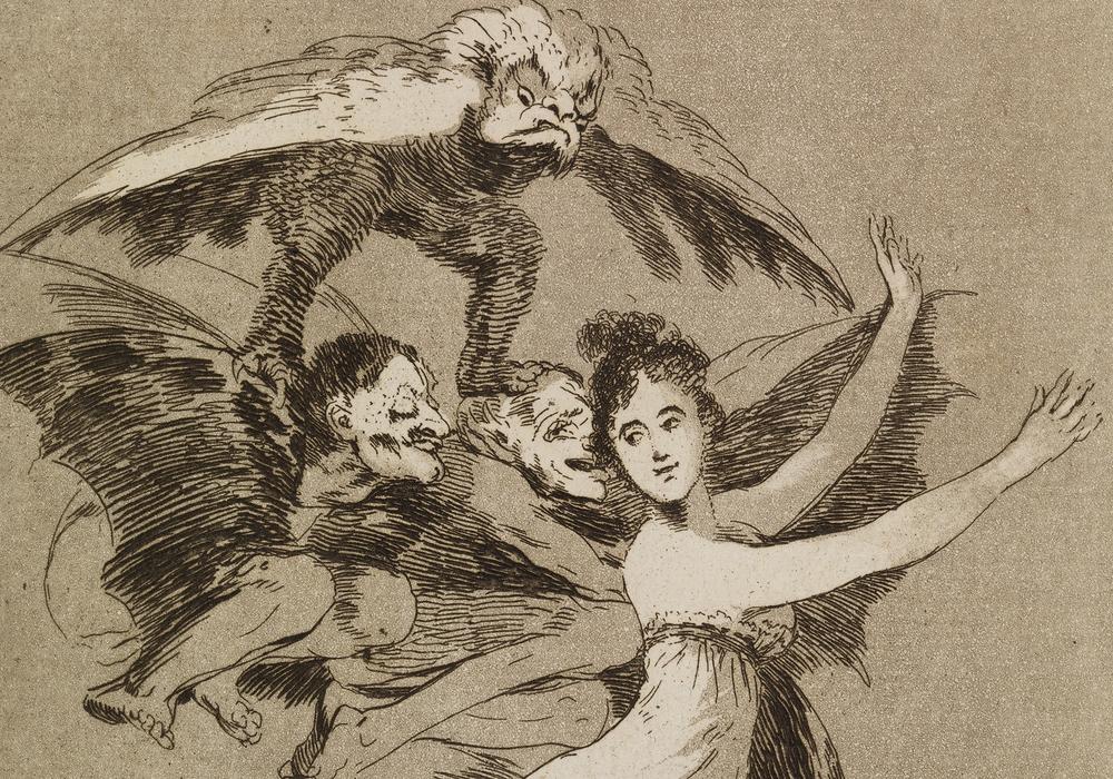 """Zweiter Teil von Goyas """"Caprichos"""" als Sonderschau ab dem 22. November im Raum """"Kunst auf Papier"""". Los Caprichos, Nr. 72 No te escaparás. (Du wirst nicht entkommen), 1797 -1798, Radierung und Aquatinta, Foto: C. Cordes, Herzog Anton Ulrich-Museum"""