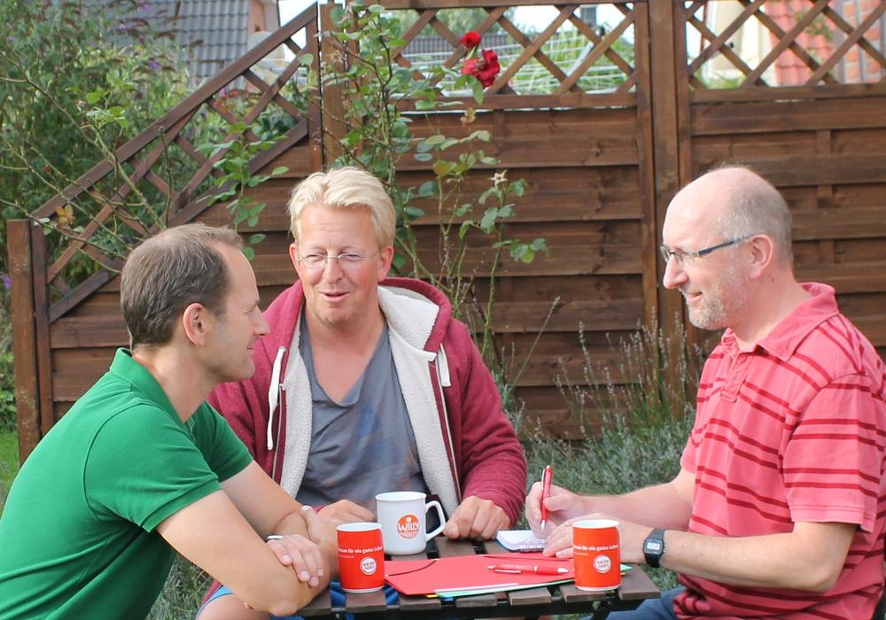 Bernd Telm, Wilfried Ottersberg und Matthias Franz im Gespräch über Bildungsgerechtigkeit. Foto: SPD