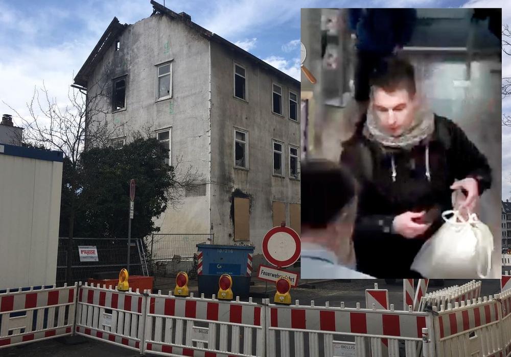Die Polizei sucht einen wichtigen Zeugen im Fall des Brandes in der Hochstraße. Fotos: Alexander Dontscheff/Polizei