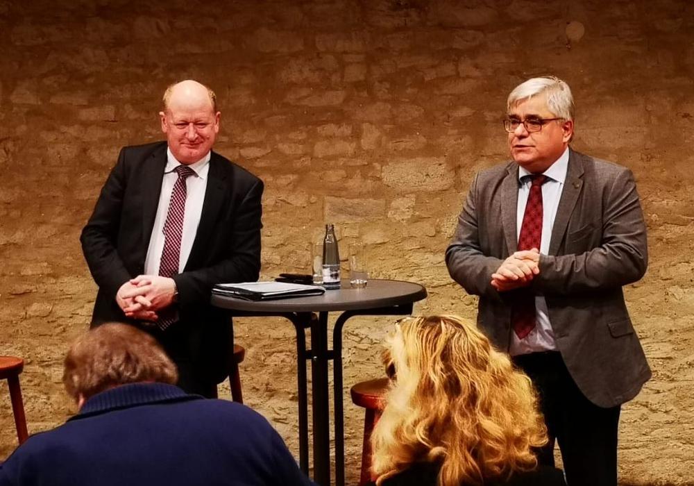 Reinhold Hilbers und Markus Sobotta bei der Veranstaltung des CDU Stadtverbandes Schöningen. Foto: CDU