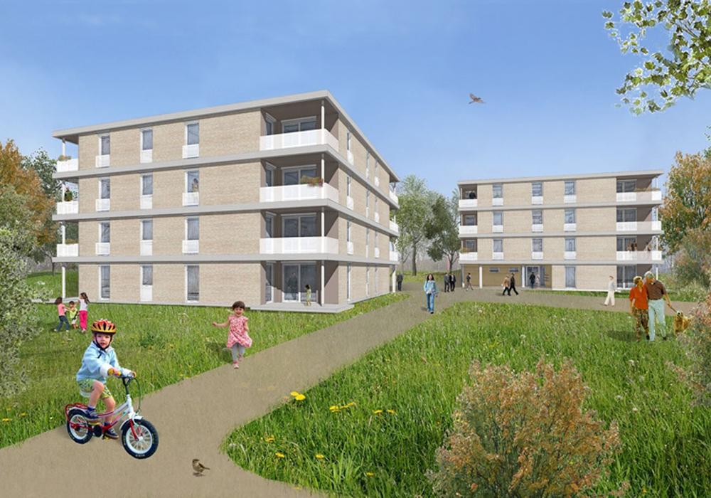 Ein Entwurf der neuen Wohnhäuser. Fotos: NEULAND