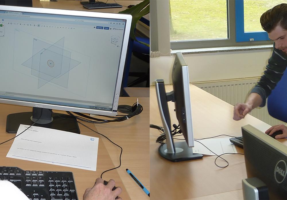 Britta Petereit, Theodor-Heuss-Gymnasium, bei der Erstellung einer Bauzeichnung zur Vorbereitung für den 3D-Druck. Hilfefstellung gibt es von Thorsten Wollny, Ostfalia. Foto: Evelyn Meyer-Kube