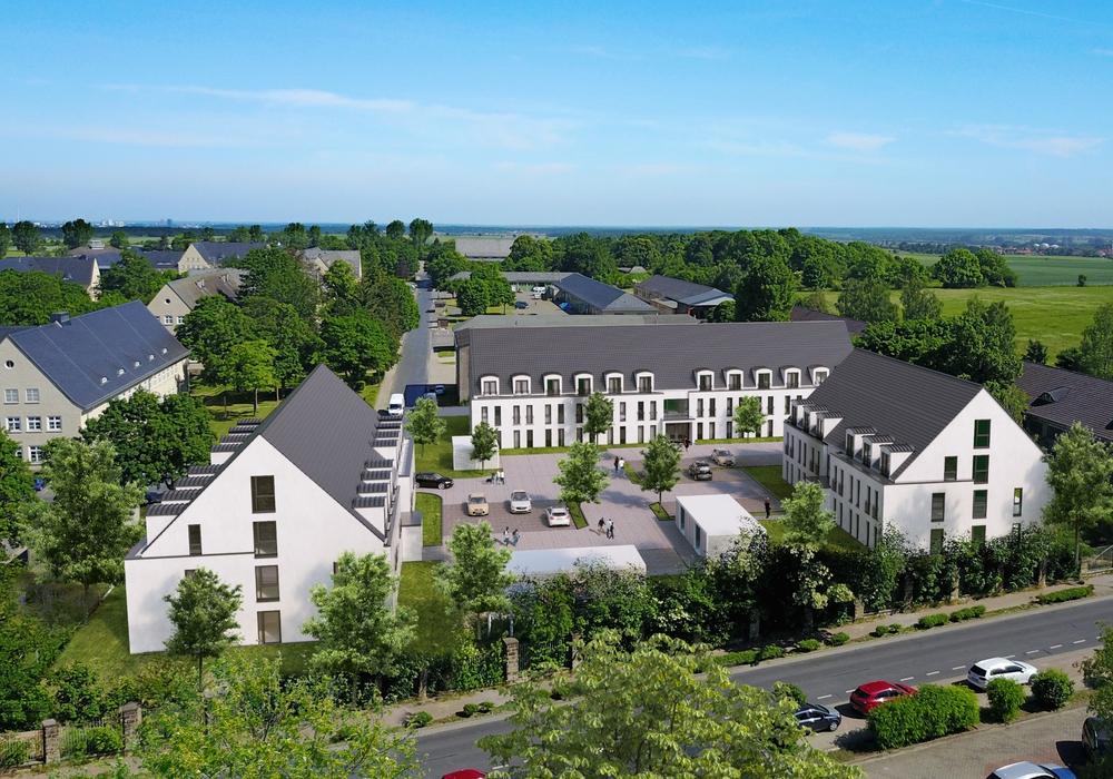 Die Visualisierung zeigt, wie gut sich die drei neuen Wohnheime in das denkmalgeschützte Exer-Gelände an der Südseite einfügen werden. Grafik: bauplan GmbH.