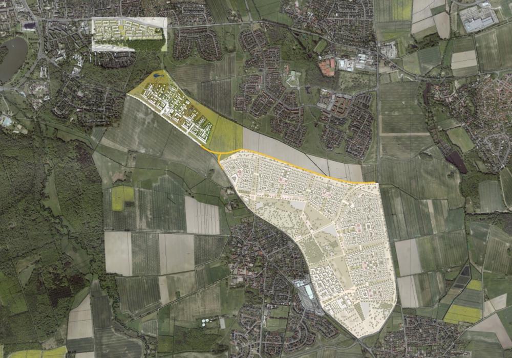 Dimension des neuen Baugebietes. Karte: AG Thomas Schüler Architekten Stadtplaner, Düsseldorf / Faktorgruen, Freiburg