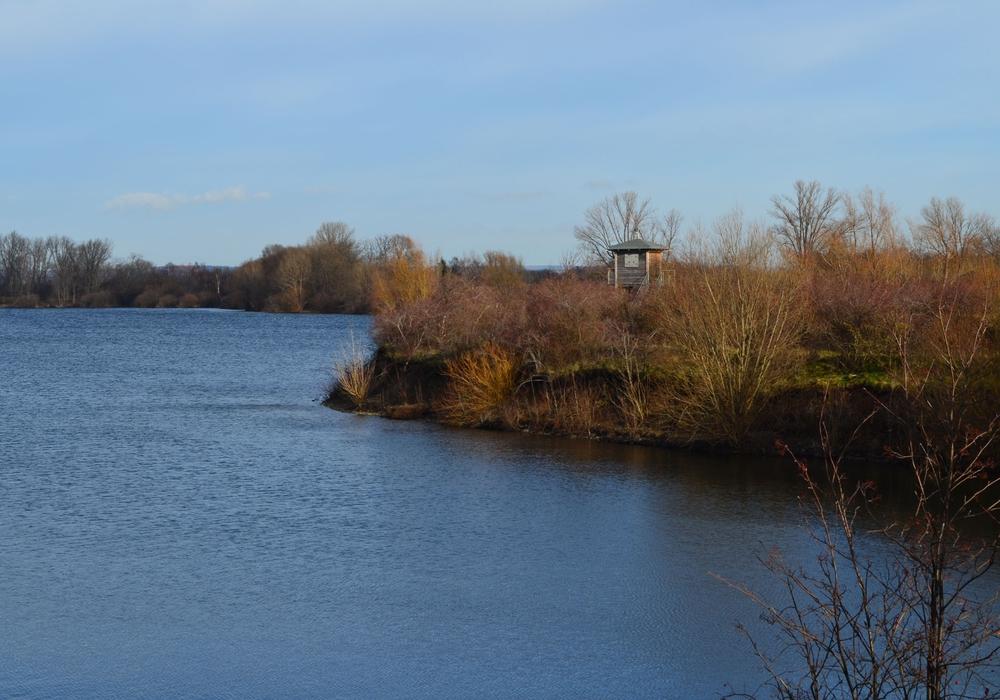 Der nördliche Kiesteich mit Vogelbeobachtungshütte. Foto: Cornelia Schilling