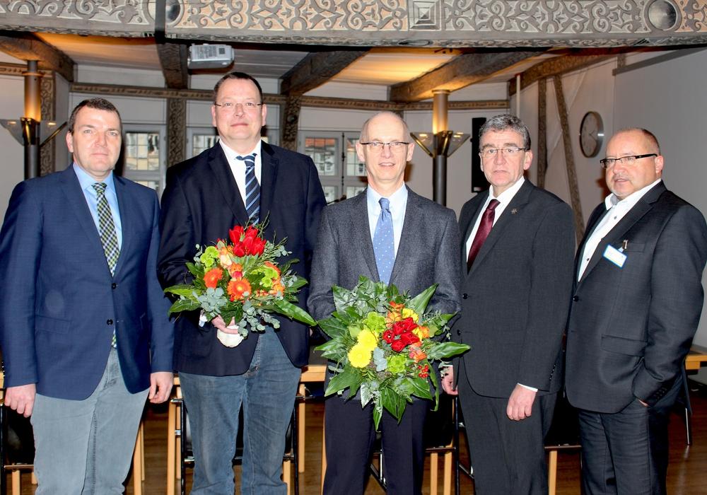 Von links: Axel Burghardt, Dr. Thomas Hockertz, Prof. Dr. Dr. Dirk Hausmann, Bürgermeister Thomas Pink und Ralf Harmel Foto: Nick Wenkel