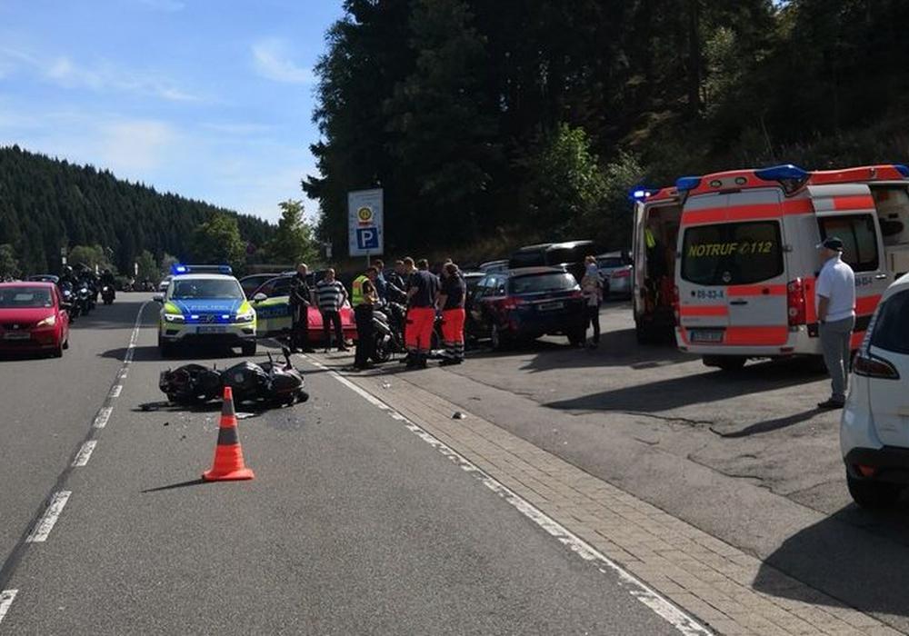 Verkehrsunfallort auf der B 498. Foto: Polizeiinspektion Goslar