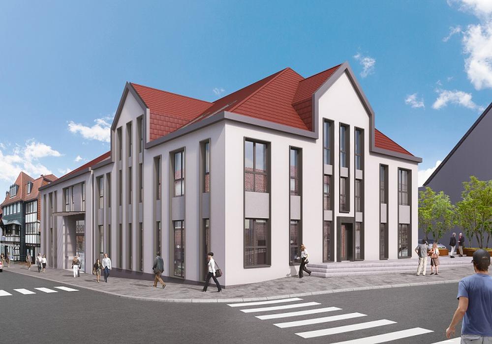 So soll sich die Filiale nach dem Umbau in das Stadtbild einfügen. Fotos: Volksbank BraWo