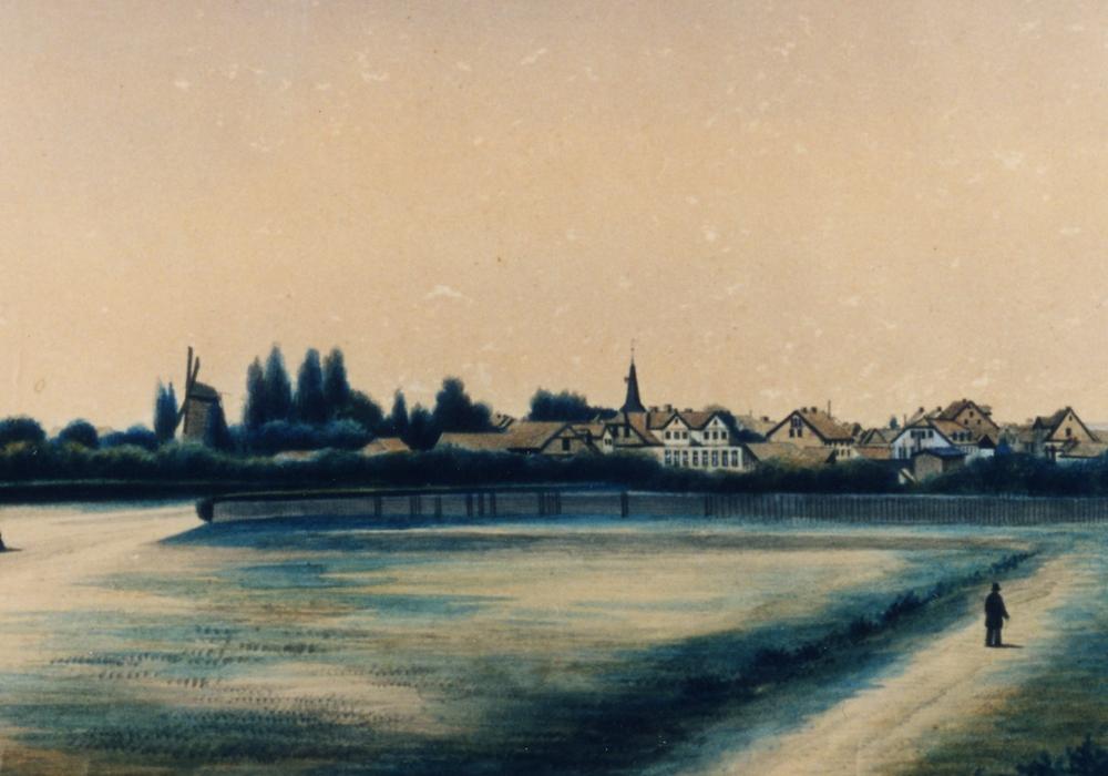 Stadtansicht von der Südseite: im Vordergrund der Friedrich-Ebert-Platz 1859. Foto: Stadtarchiv Peine
