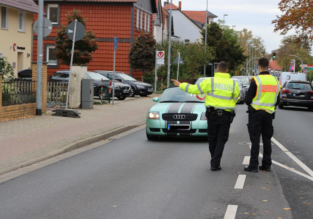 Die Polizei führte an zwei Standorten Kontrollen durch. Fotos: Anke Donner