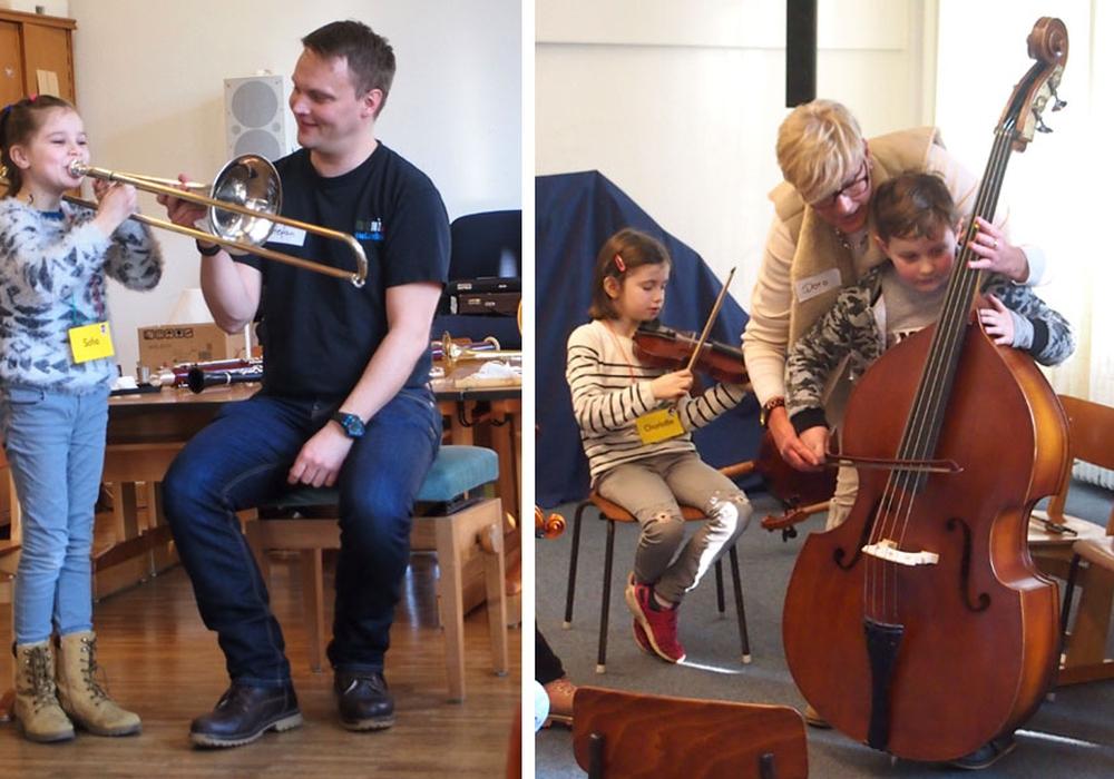 Hier lernen die Kinder an großen Musikinstrumenten. Foto: Bürgerstiftung Braunschweig