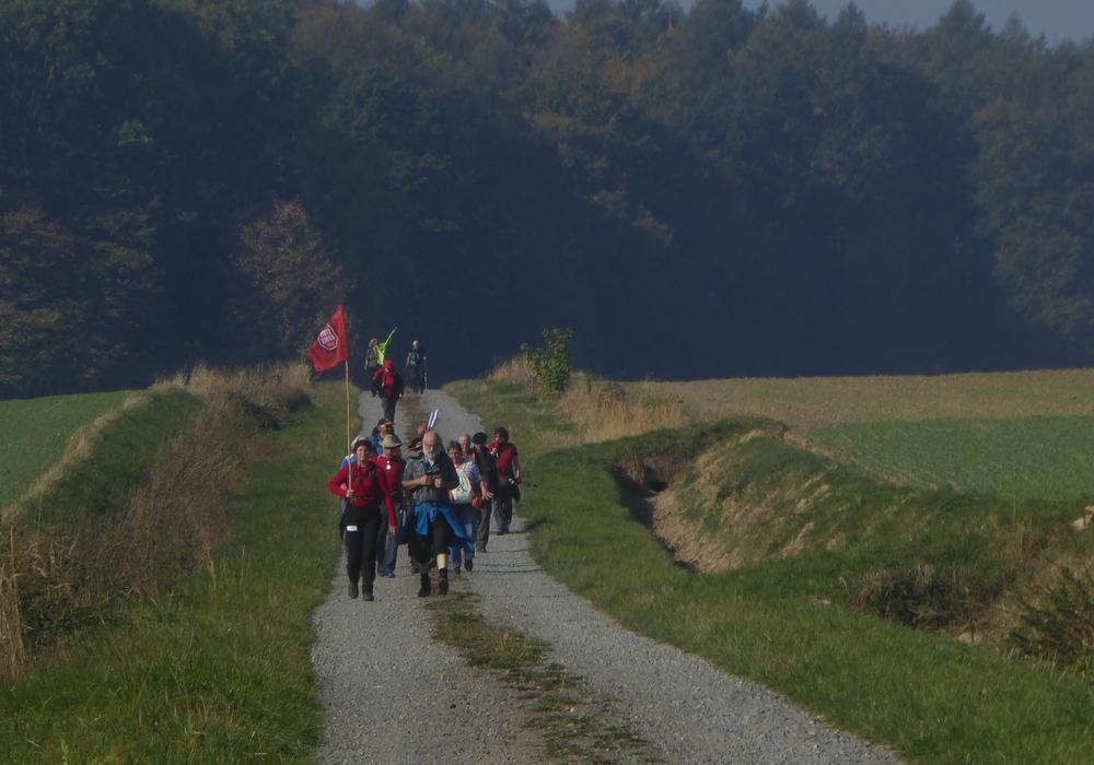 Die Klimapilger kommen aus Richtung Lelm auf die Obermühle in Räbke zu, wo sie von einem Team um Paul Koch, Christian Lubkowitz erwartet. Foto: Paul Koch