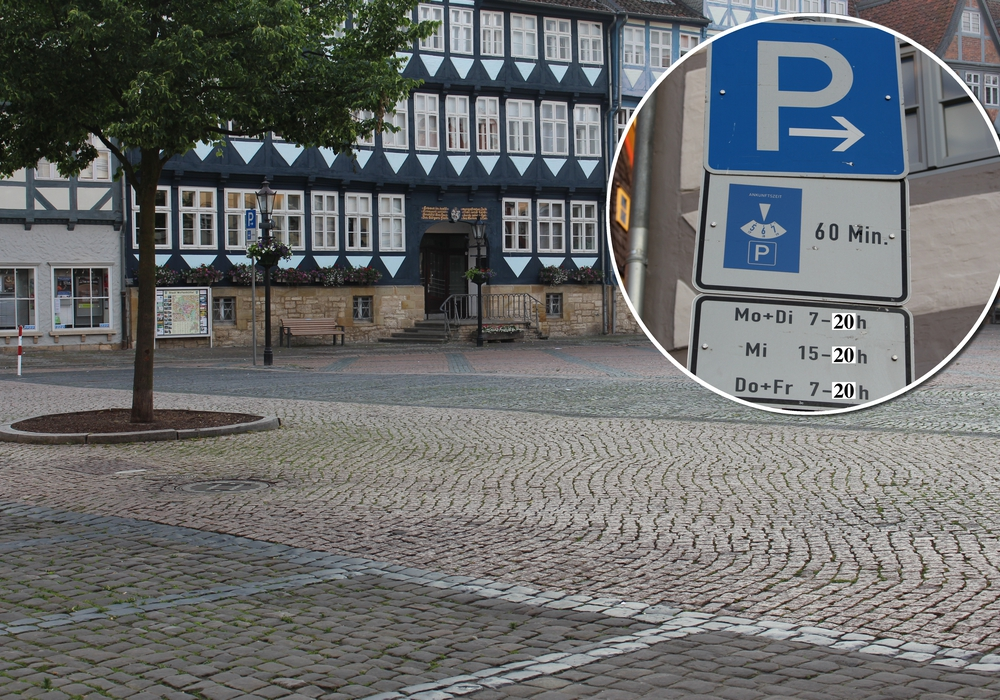 """""""Mit Klebestreifen und Edding"""" forderte Florian Röpke (Piraten/Linke) eine Änderung der Parkzeit, bis 20 Uhr, auf dem Stadtmarkt in Wolfenbüttel. Foto: Nick Wenkel"""