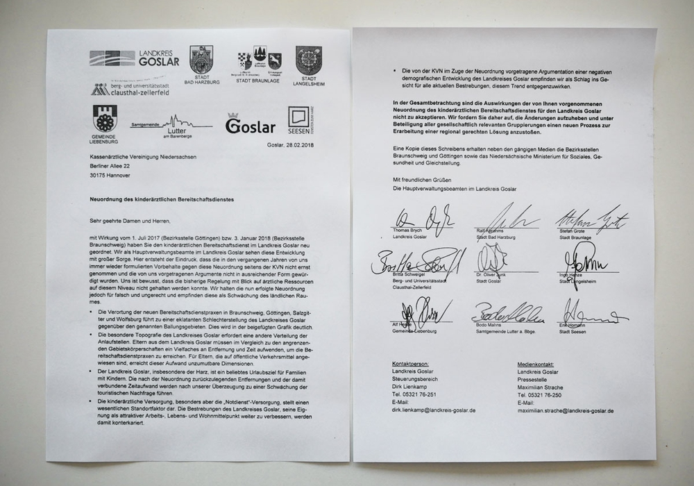 Der offene Brief an die KVN. Neun Stimmen für neue Regelungen. Foto: Alexander Panknin