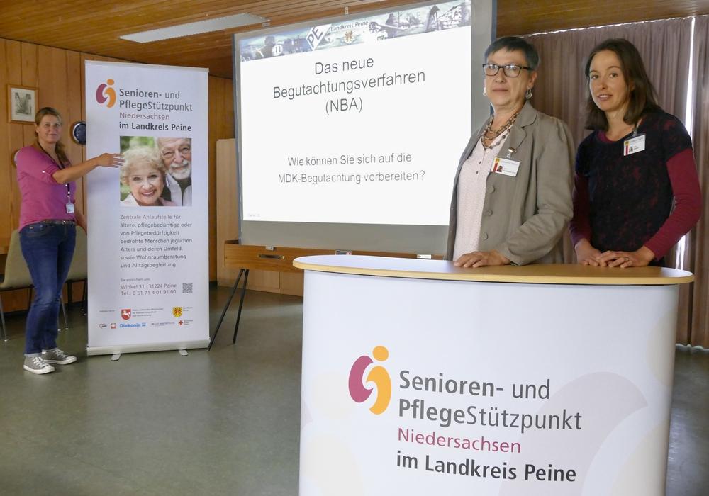 Die Pflegeberaterinnen Bianca Kaiser, Katarzyna Galuszka-Stolz und Joana Möbes freuen sich auf viele Zuhörer. Foto: Landkreis Peine