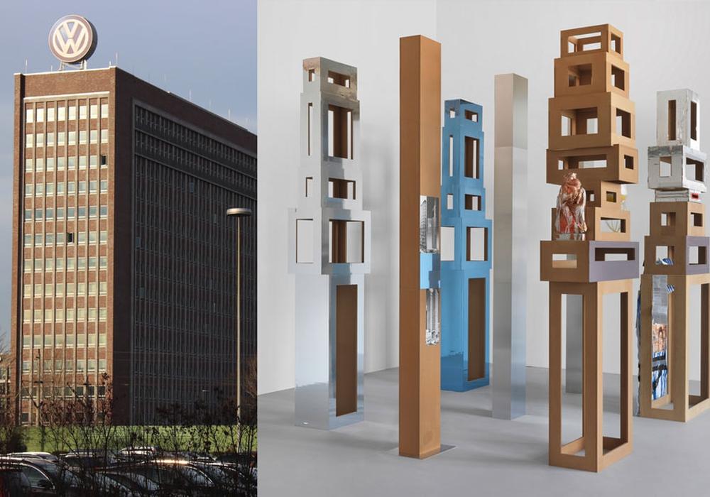 rechts: Ein Kunstwerk von Isa Genzken. Foto: Magdalena Sydow; Isa Genzken/VG Bild-Kunst. Bonn 2017; Courtesy Galerie Buchholz, Köln, Berlin; New York