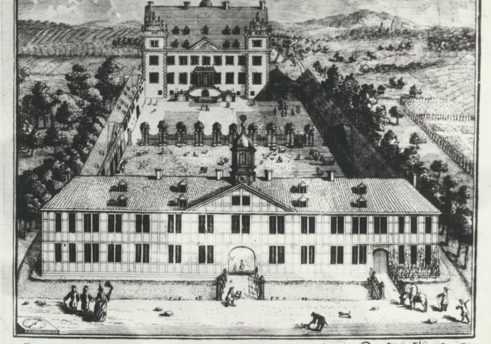 Schloss Salder mit dem Sitz des Gerichtes um 1730, Stich von Anton August Beck. Foto: Stadt Salzgitter
