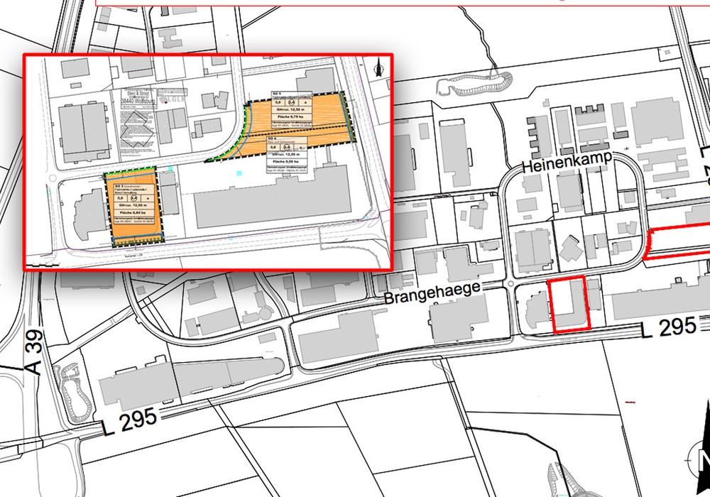 So soll sich das Gewerbegebiet nach Plan verändern. Karten: Stadt Wolfsburg