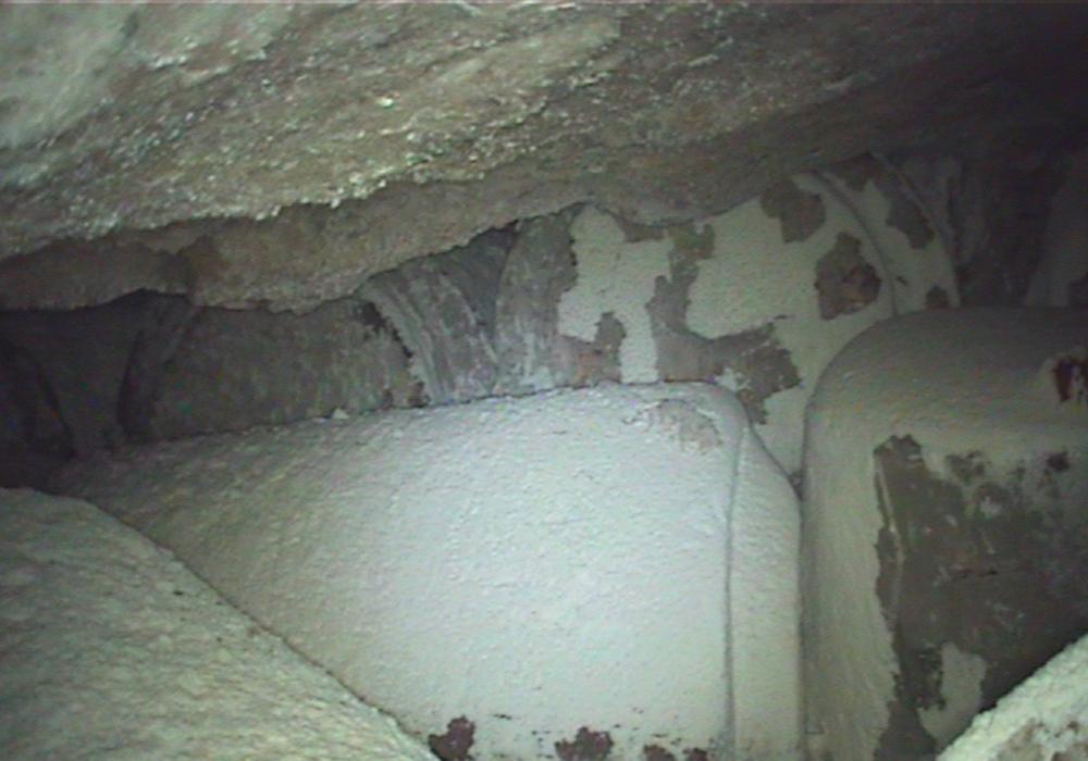 Abfallbehälter in Einlagerungskammer 7 auf der 750-Meter-Ebene. Foto: Bundesgesellschaft für Endlagerung mbH