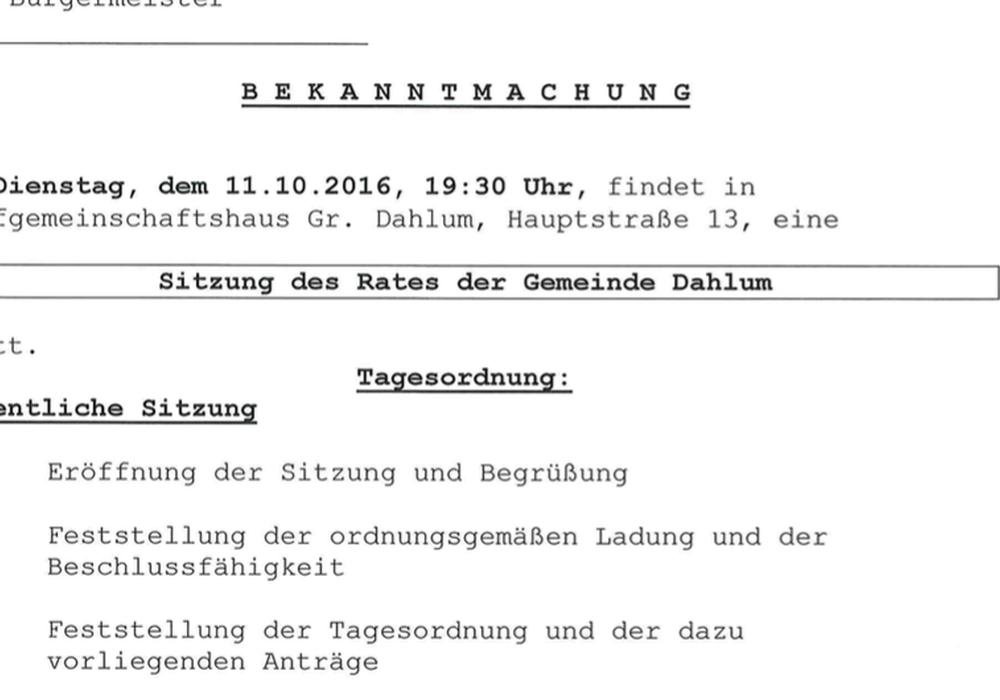 Am. Oktober tagt der Gemeinderat in Dahlum. Foto: