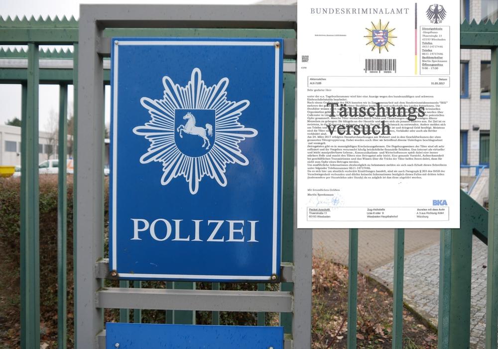 Bereits am 7. April dieses Jahres warnte das echte BKA auf seiner Internetseite vor diesen Briefen. Foto: Alexander Panknin/Polizei Braunschweig