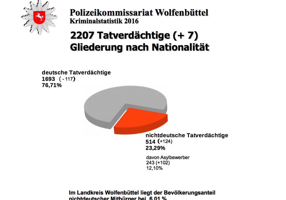 Laut Kriminalstatistik der Polizei Wolfenbüttel waren 23 Prozent der Tatverdächtigen Ausländer. Foto: Polizei Wolfenbüttel