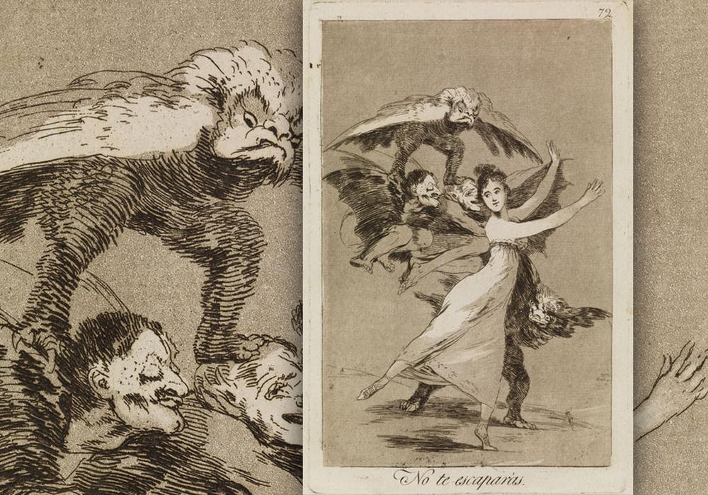 Los Caprichos, Nr. 72 No te escaparás. (Du wirst nicht entkommen), 1797 -1798, Radierung und Aquatinta, Foto: C. Cordes, Herzog Anton Ulrich-Museum