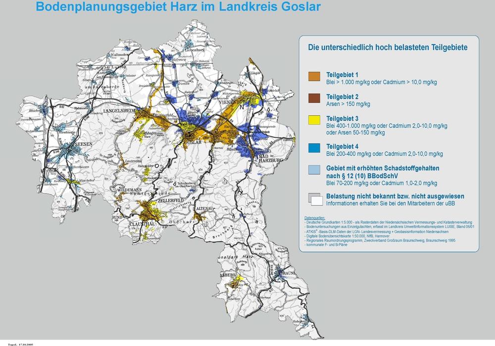 Diese Karte zeigt die unterschiedlichen Belastungsgrade. Grafik: Landkreis Goslar