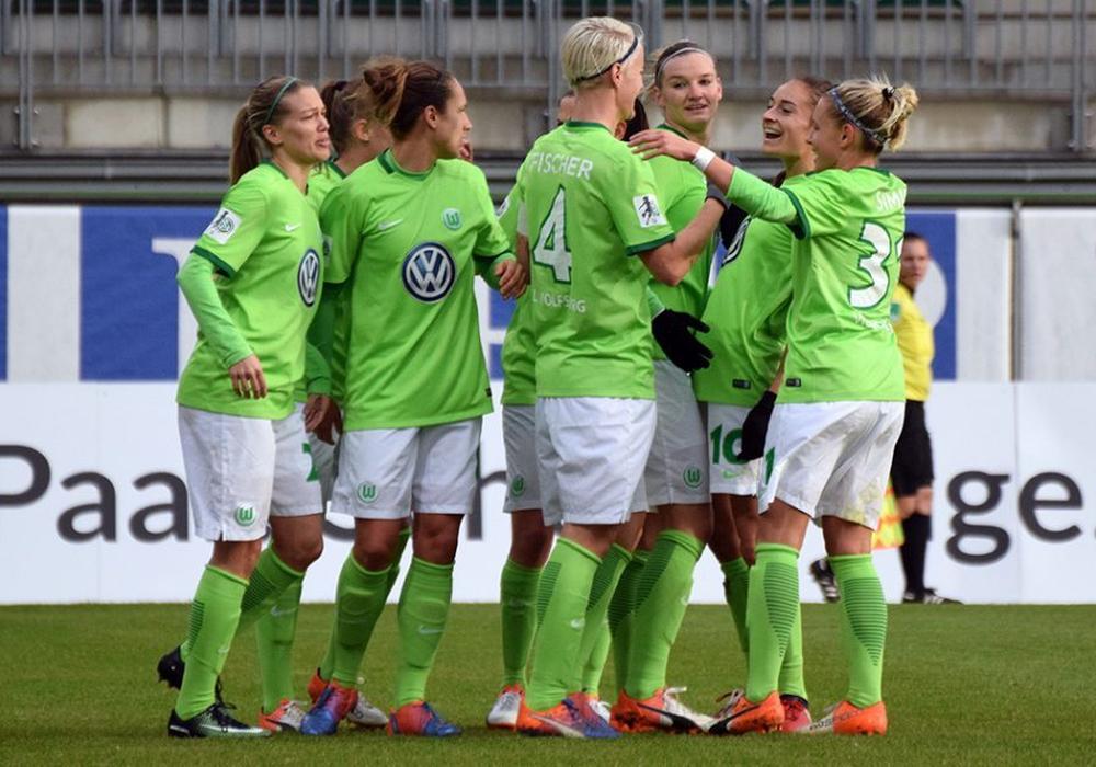 Finale in zwei Akten: Die Frauen des VfL Wolfsburg empfangen Olympique Lyon. Foto: Moritz Eden