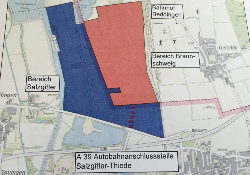 In diesem Gebiet soll das interkommunale Gewerbegebiet gebaut werden. Foto: Stadt Braunschweig