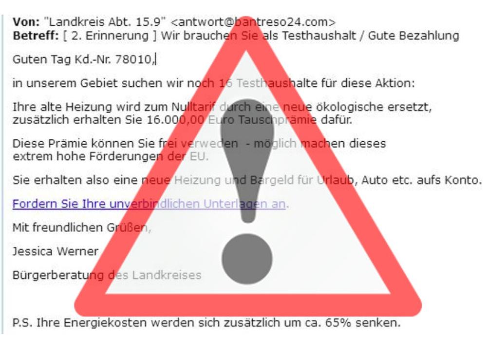 Der Landkreis warnt vor gefälschten Mails die aktuell im Umlauf sind. Grafik: Landkreis Helmstedt/pixabay, Fotomontage: Eva Sorembik