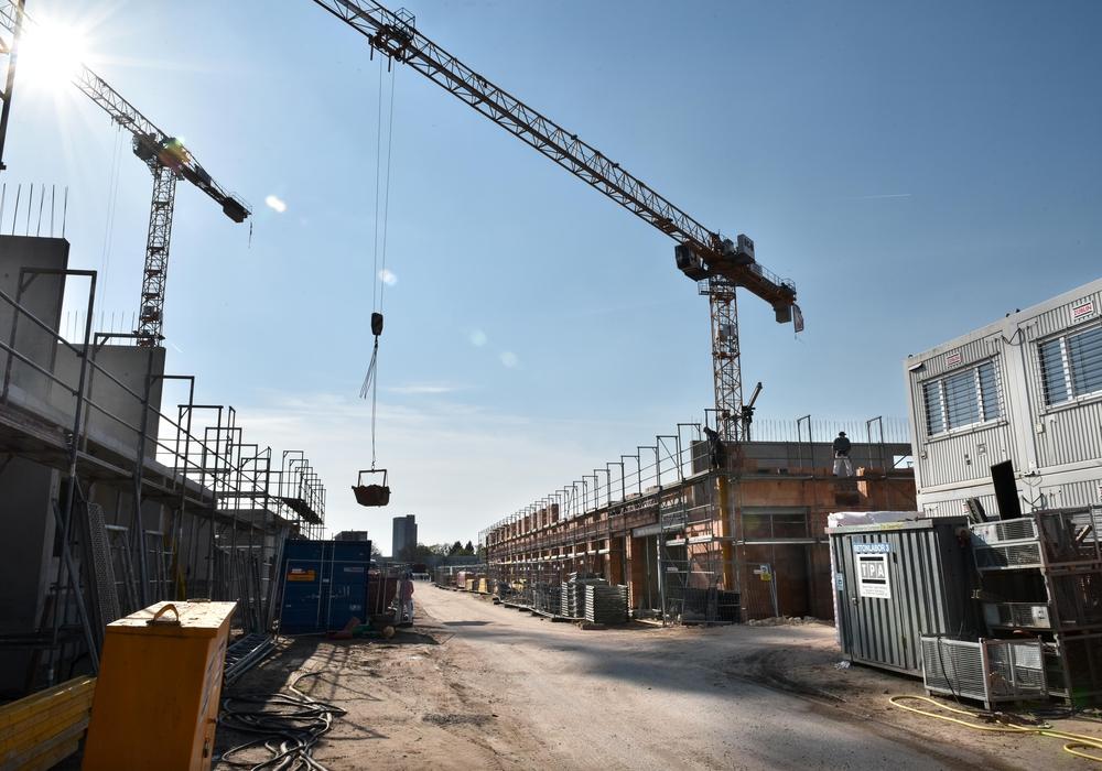 Mietwohnungsbau der Neuland Wohnungsgesellschaft in den Hellwinkel Terrassen. Auf drei Baufeldern sind hier 153 Wohnungen in der Realisierung. Foto: Lars Landmann