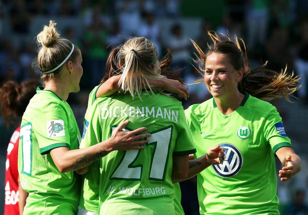 Wolfsburger Jubel: Gunnarsdottir sorgt mit ihrem Doppelpack gegen Florenz für eine gute Ausgangsposition im Rückspiel. Foto: Archiv