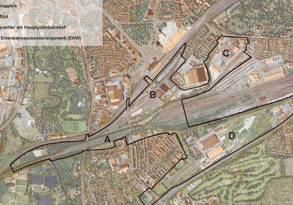 Stadtumbaugebiet Bahnstadt. Karte: Stadt Braunschweig
