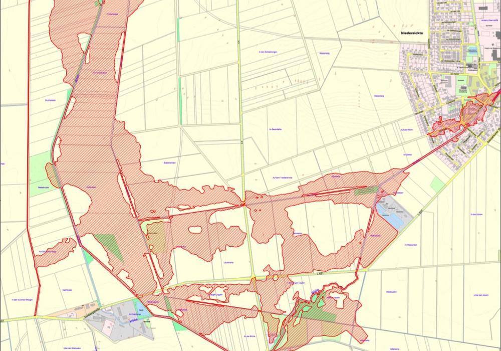 Ausschnitt des Plans über die Festlegung des Überschwemmungsgebietes der Wabe im Landkreis Wolfenbüttel. Foto: Landkreis Wolfenbüttel