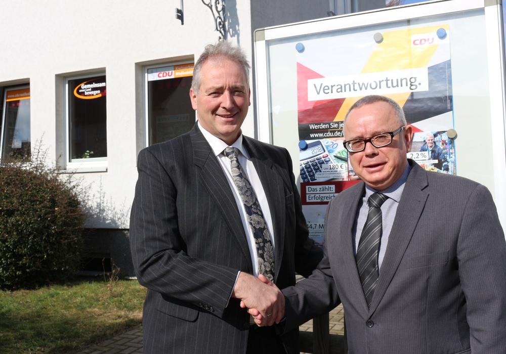 Frank Oesterhelweg und Andreas Meißler blicken auf die Arbeit des CDU-Stadt-und Kreisverbandes. Foto: Anke Donner