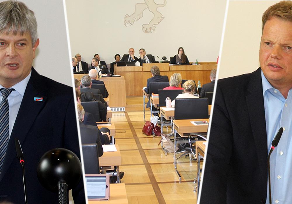 Die Fraktionschefs von AfD Stefan Wirtz (links) und SPD Christoph Bratmann im Rat. Foto: André Ehlers
