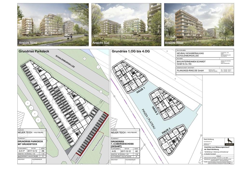 Die Anlage soll aus drei Gebäuden und verschiedenen Parkmöglichkeiten bestehen. Grafik: Stadt Wolfsburg