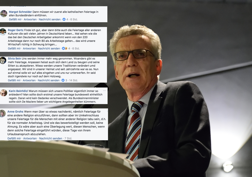 Thomas de Maizières Aussagen zum möglichen muslimischen Feiertag sorgen für geteilte Reaktionen. Foto: Moritz Eden