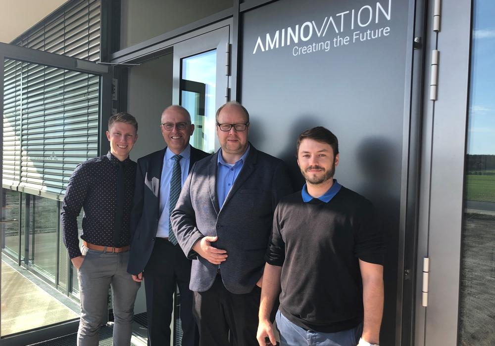 Der Landtagsabgeordnete Jörn Domeier besuchte kürzlich die Amino GmbH in Frellstedt. Foto: Amino GmbH