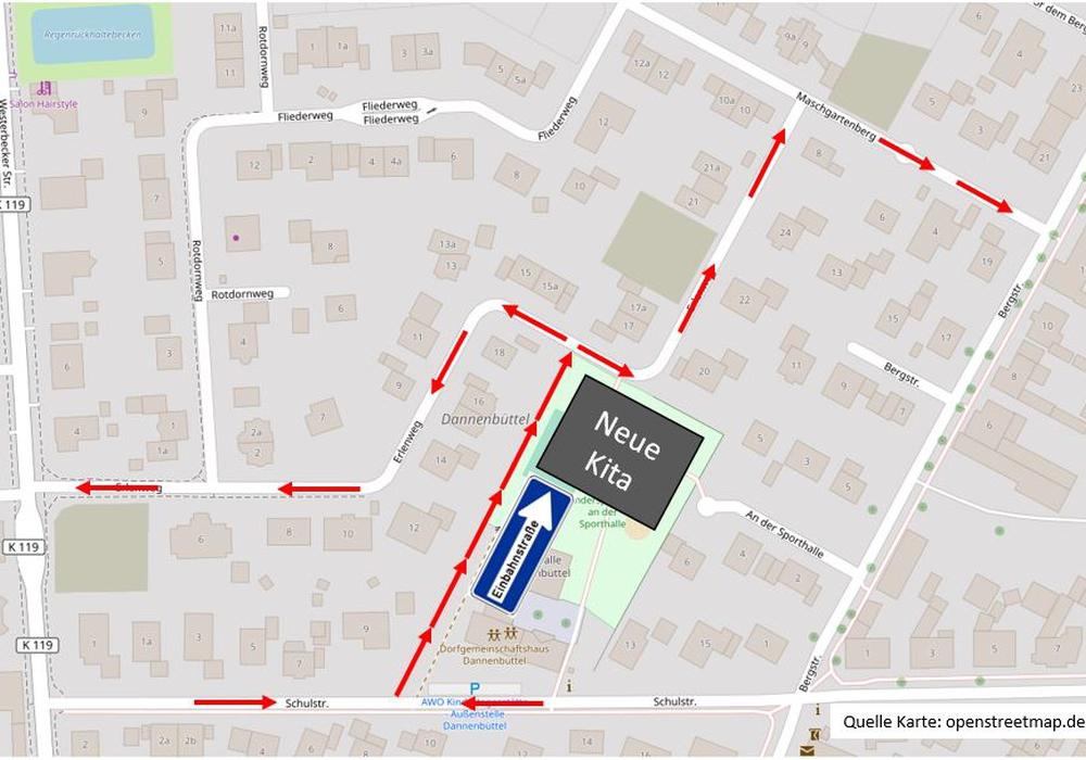 Das ist die aktuelle Planung zum Neubau. Plan: B.I.B. Sassenburg; © OpenStreetMap-Mitwirkende (CC-BY-SA)