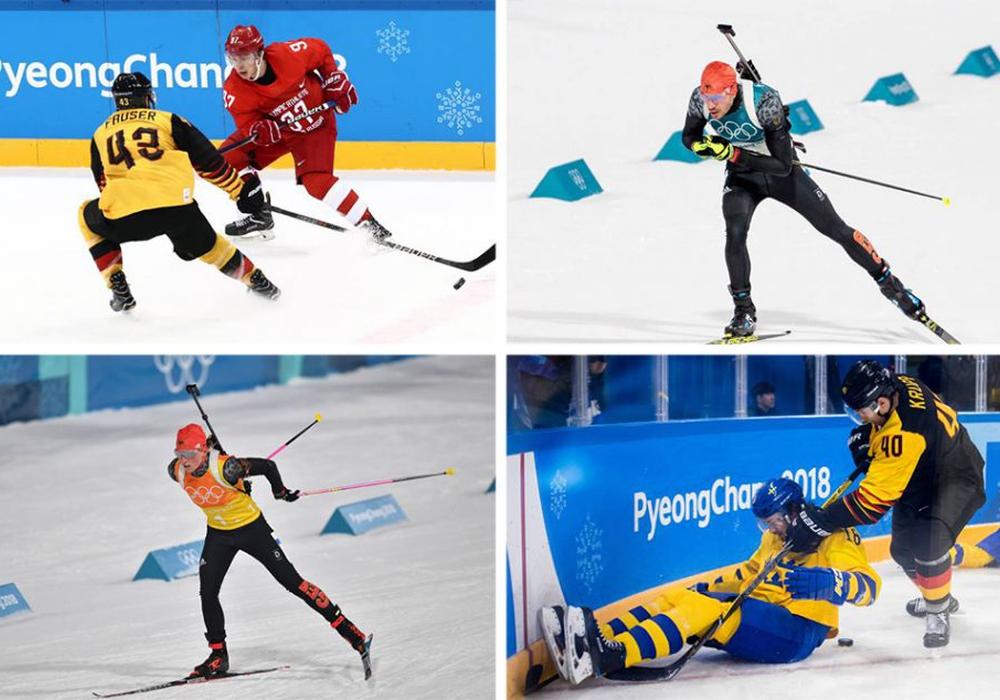 Gerrit Fauser, Arnd Peiffer, Franziska Hildebrand und Björn Krupp waren in PyeongChang dabei (von li. oben nach re. unten). Fotos: imago